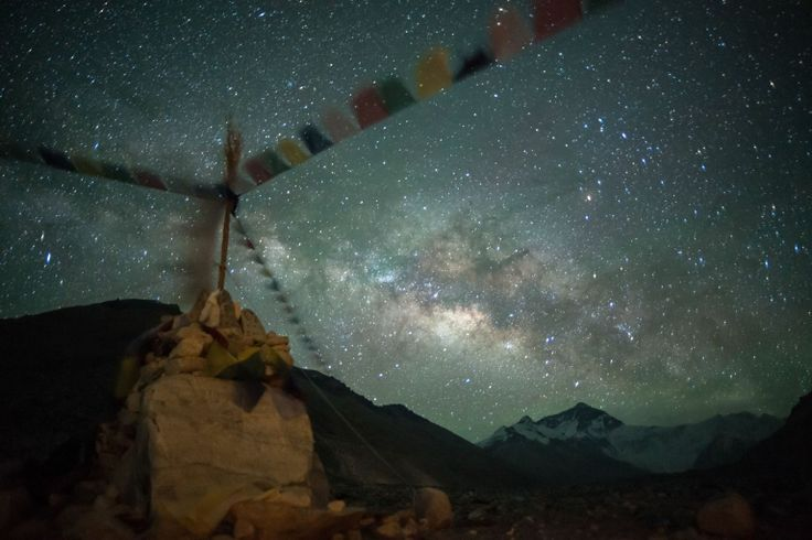 The milky way rises over the Everest base camp near Tibet.