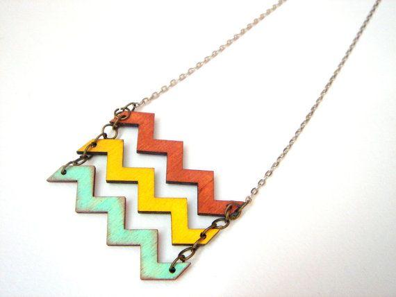 Chevron Necklace, Wood Chevron Necklace,Zig Zag Necklace,Geometric Jewelry