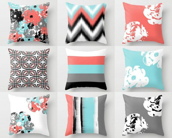 Throw Pillow Cover designs in coral, aqua, black, grey, and white. Individually cut and sewn by hand, features a 2 sided print and is finished with a zipper for ease of care. SIZES: 16in. X 16in. 18in. X 18in. 20in. X 20in. IMPORTANT: These are COVERS ONLY! If you need inserts please purchase them here: https://www.etsy.com/shop/HLBhomedesigns?section_id=17385838&ref=shopsection_leftnav_9 FABRIC: Spun Polyester fabric. 100% polyester fabric that is durable and slightly textured and suita...