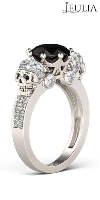 Two Skull-Design Black Diamond Sterling Silver Skull Ring #jeulia