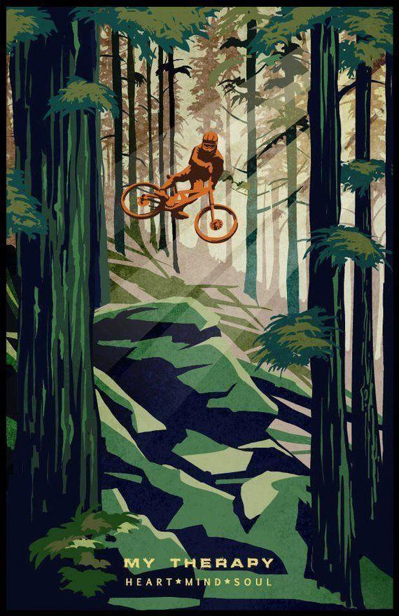 Retro Mountain Bike Poster Illustration Fine Art Print Roadbikegear Mountain Bike Art Bike Illustration Bike Poster