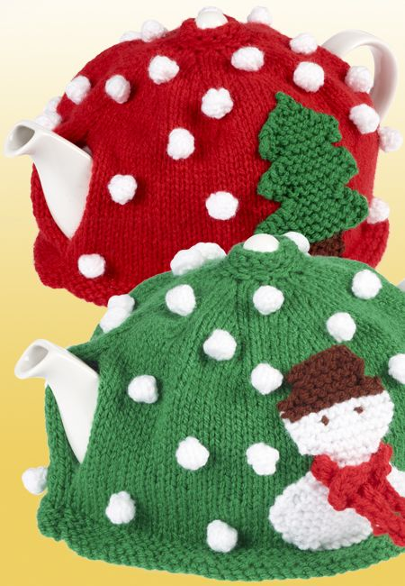 Christmas Tea Cosies - free knitting pattern on Spotlight at http://spotlight.com.au/projects/christmas-tea-cosies/
