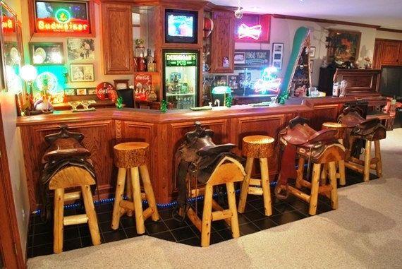 Set of 2 Authentic Western Horse Saddle Bar Stools.