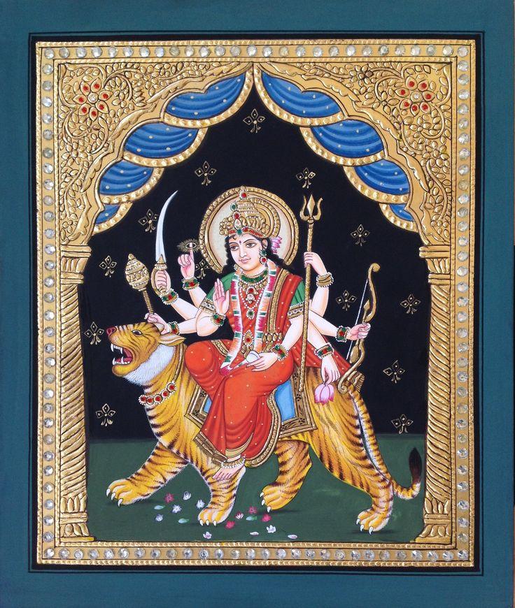 Tanjore Durga Art Handmade Indian Hindu Goddess Thanjavur Wall Decor Painting