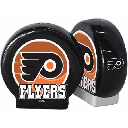 NHL Flyers Puck Shaped Salt and Pepper Shakers, Multicolor