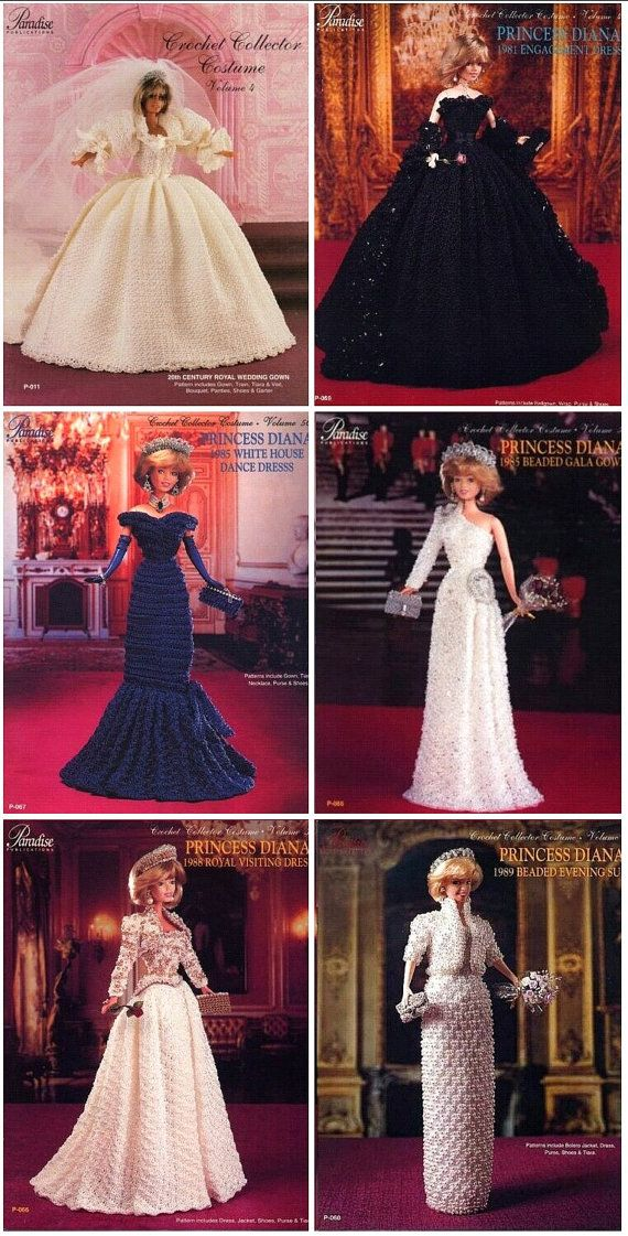 """6 Paradise Crochet Patterns: Princess Diana Wedding, Engagement & Ball Gowns for 11.5"""" Dolls"""