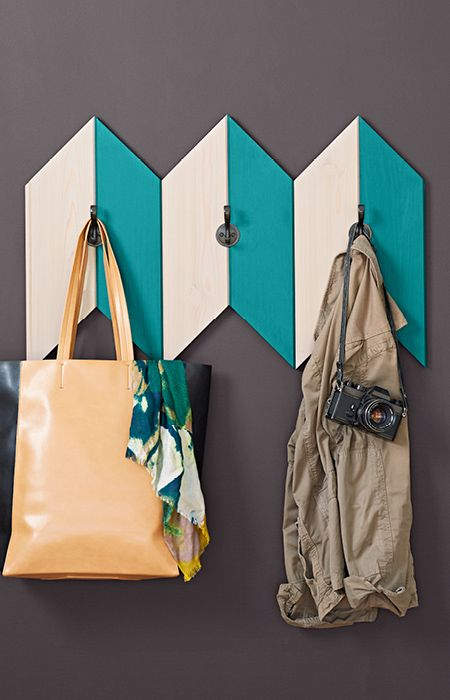 Add function and fashion to an entry with a chevron-inspired coat rack you can make from one piece of wood.
