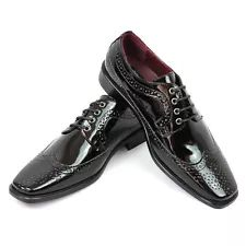 New Men's Dress Tuxedo Shoes Black Wing Tip Patent Leather Shiny Lace Up Parrazo