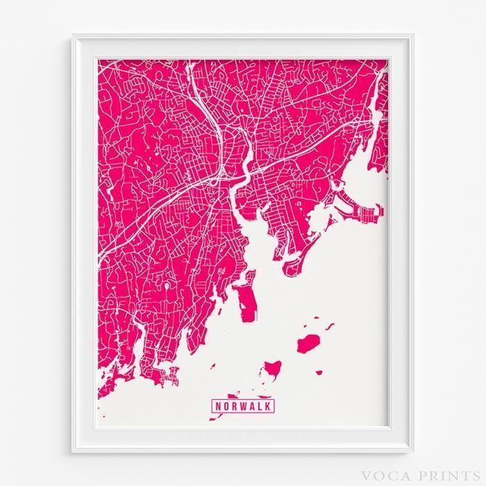 NORWALK, CONNECTICUT Street Map Wall Art Poster. Starting at $9.90 with 42 color choices at VocaPrints.com - #streetmap #map #homedecor #wallart #NORWALK #CONNECTICUT