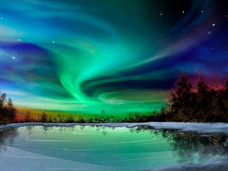 Aurora Borealis, seen in Alaska, northern parts of Canada, the southern half of Greenland, Iceland, Northern Norway, Sweden and Finland.