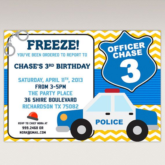 Police Birthday Party printable invitation  Cops and by PNArt