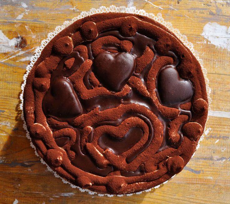 Valentine's (every) day cake. Torta tiramisù al cioccolato e caramello salato. La mia torta di ogni giorno è San Valentino. – Cook and Love