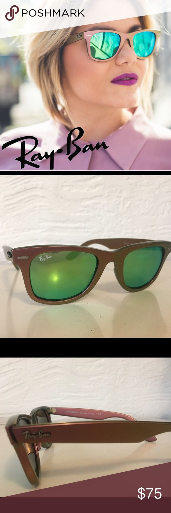 Ray-Ban Mirrored Wayfarers Cosmo Pre-owned ORIGINAL WAYFARER COSMO Model code: RB2140 611019             FRAME:Green,Pink LENSES: green flash Ray-Ban Original Wayfarer Cosmo RB2140 is crafted from the traditional and unmistakable Wayfarer frame, but finished with shifting colors that flow mysteriously into one another, giving it an effect never before seen. Some minor scratching on left lense.  SIZE Shape: Square Size Lens-Bridge: 50 22 Temple Length: 150 Ray-Ban Accessories Sunglasses