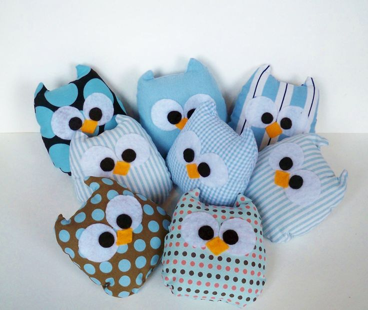 3 blue pink colorful or you can choose any color mini owls. $24.50, via Etsy.