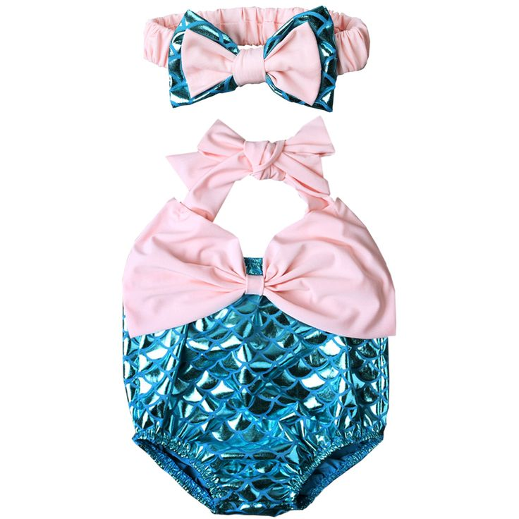 Shiny Fish Scale Mermaid Baby Girl Rompers and Headband Set, Big Bowknot Infant Halter Romper Outfits, Summer Infant Girl Costume, Baby Girl Photo Props.