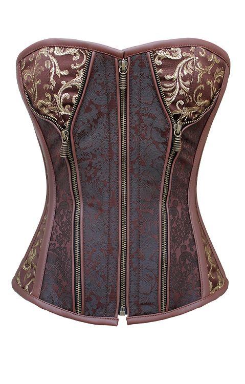 steampunk corset | steel boned corset | plus size corset | corsets | brown corset