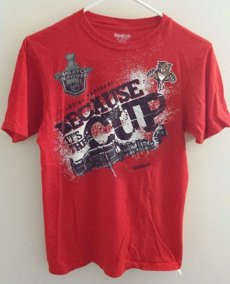 FLORIDA PANTHERS Hockey Stanley Cup Playoffs Men's Red Shirt NHL Small #Reebok #FloridaPanthers