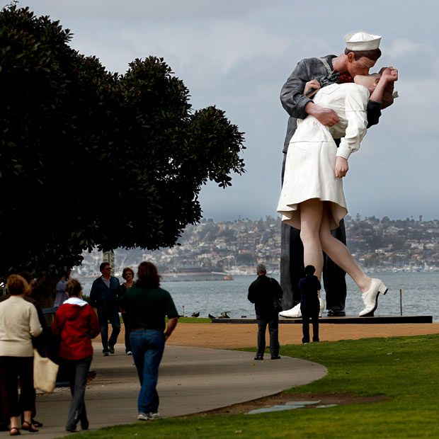 a statue entitled Unconditional Surrender along the waterfront in San Diego
