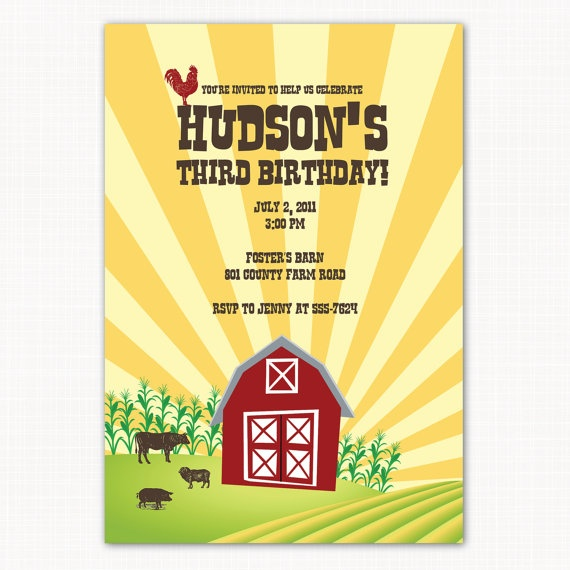 Vintage barnyard animal farm birthday party invitation