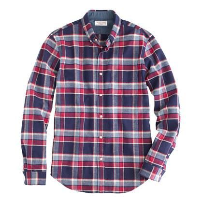 Honey | Wallace & Barnes woodshop flannel shirt in navy twilight plaid.  40% off with coupon code SALEFUN at jcrew.com (July 2014)