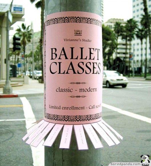 Tear-off adverts, a very clever way to get noticed! #balletadvert #dancingclassadvert