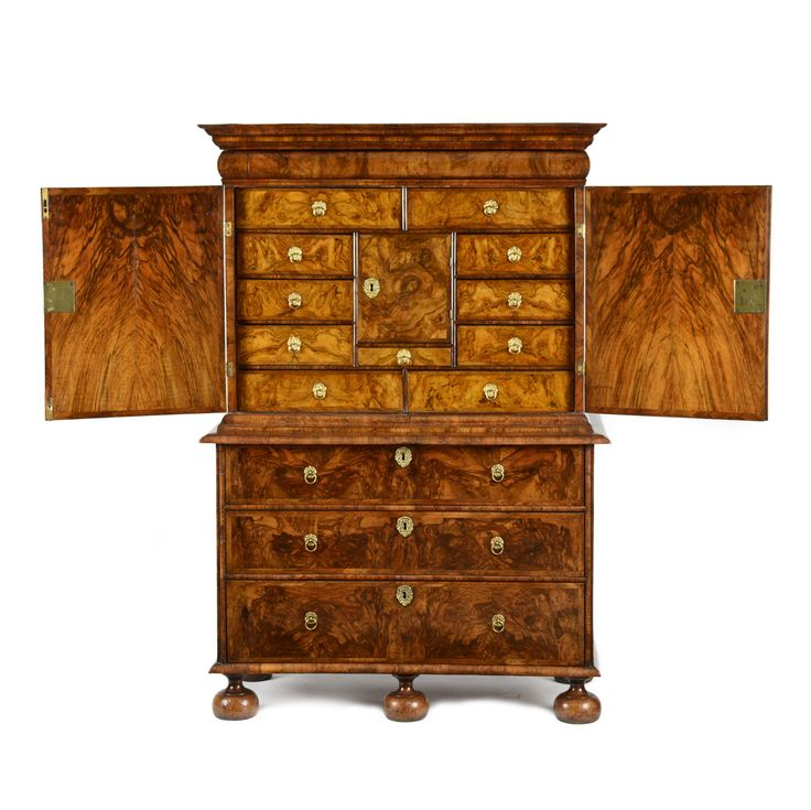 William & Mary burr walnut cabinet on chest - Millington Adams