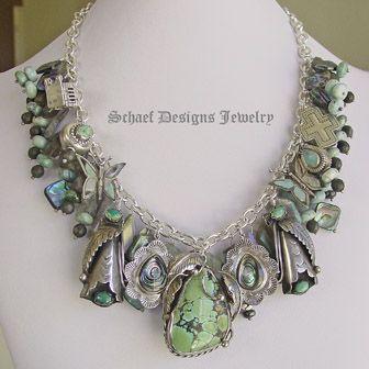 Schaef Designs Labradorite Abalone Turquoise Charm Necklace