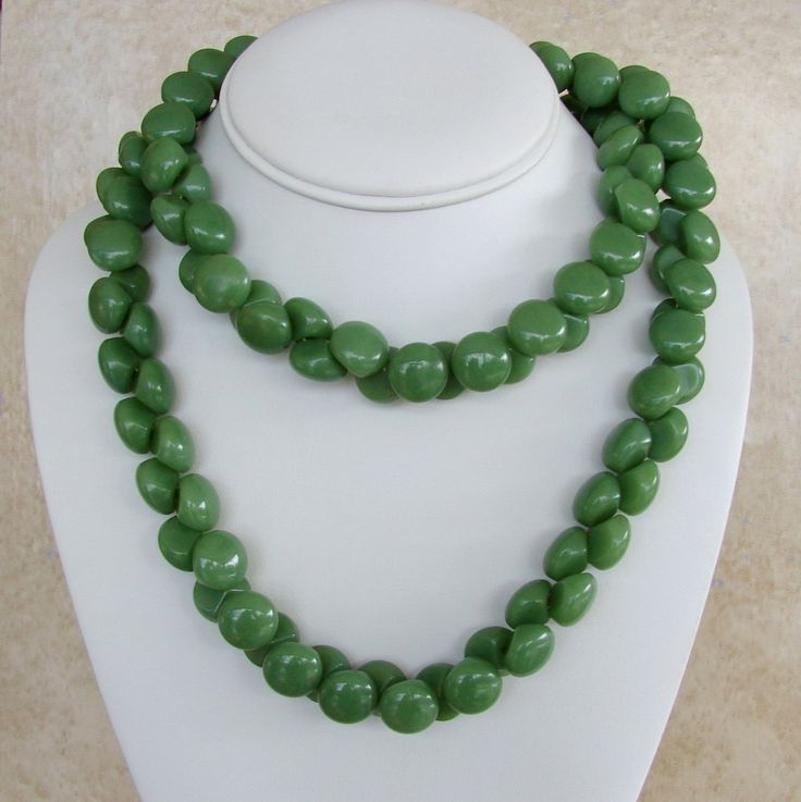 "Vintage Trifari Jade Green Color Double Row Beads Opera Length Necklace 36"" by Charmcrazey on Etsy"