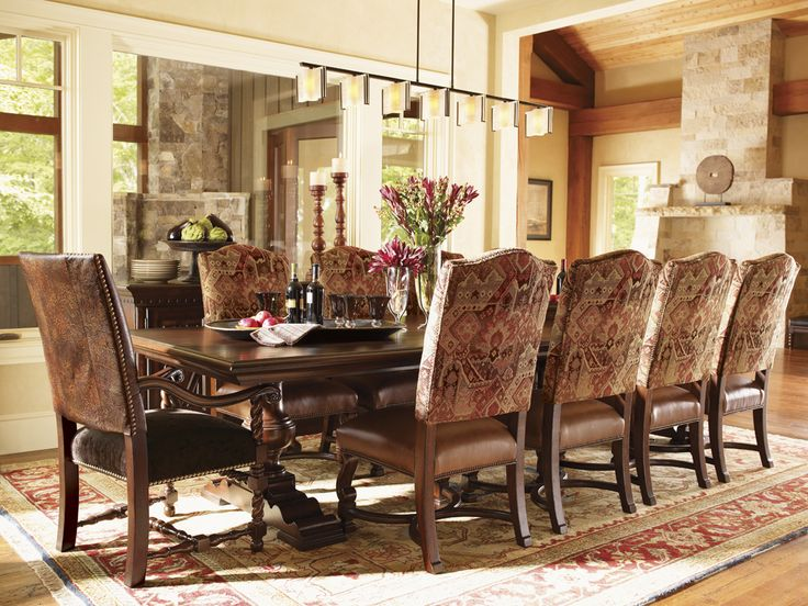 fieldale lodge silverton rectangular dining table comfortably seats 10 lexington home brands furniture - Dining Room Table Sets Seats 10
