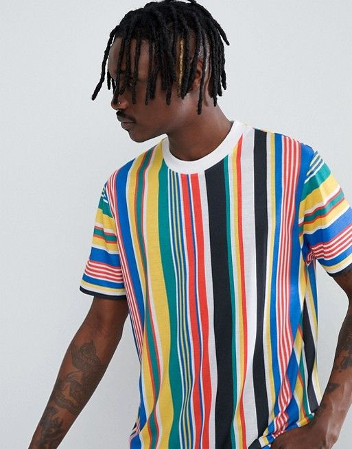 432ce339ea6d ASOS | ASOS DESIGN relaxed longline t-shirt with rainbow vertical stripe