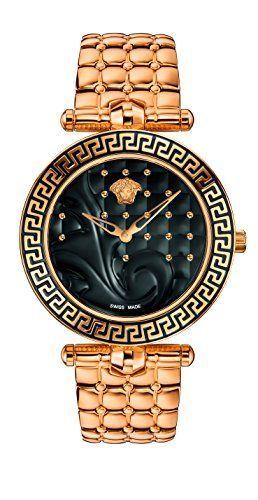 Versace Women's VK7250015 Vanitas Analog Display Swiss Quartz Gold Watch ** Want additional info? Click on the image.