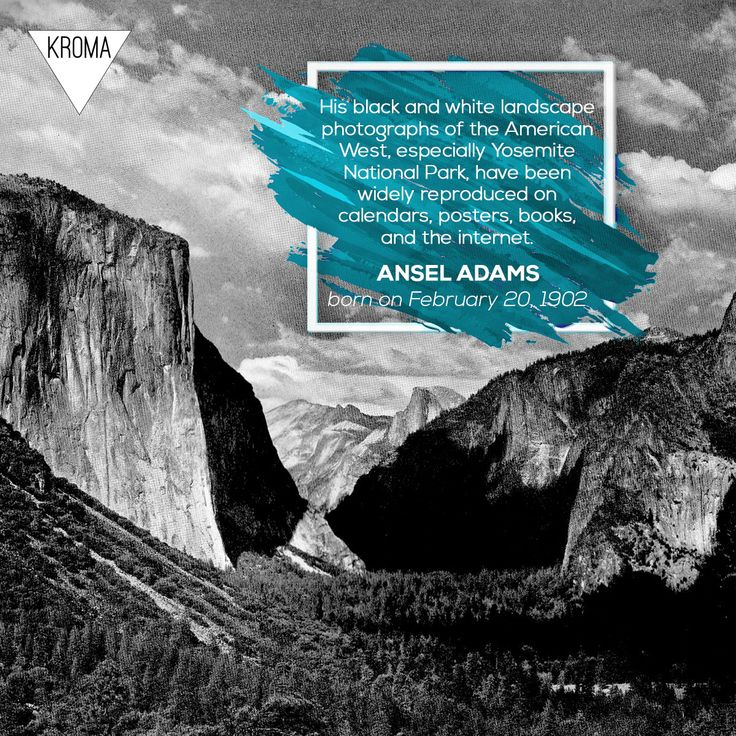 20/2 - Born Today: #AnselAdams was an American photographer and environmentalist. #KROMA #Kromamagazine #KROMAborntoday #borntoday #Photography