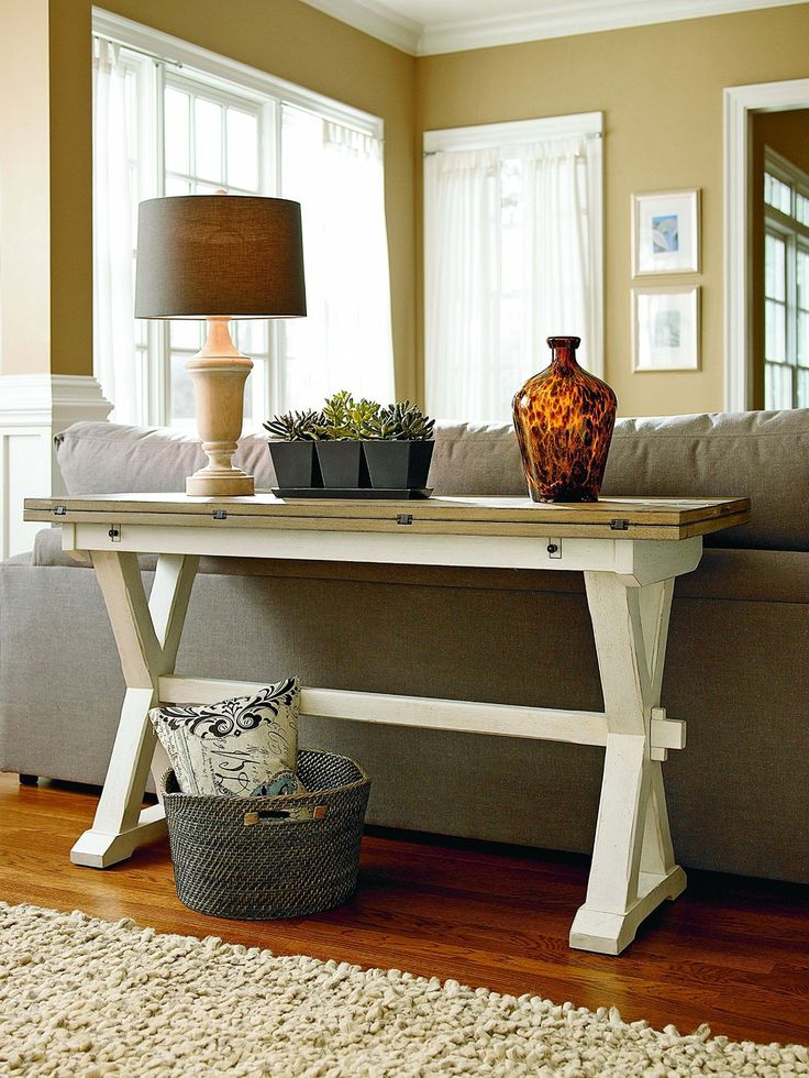 If you already have a dining table, you can make use of a flip-top console table as an additional dining table if you tend to serve large parties in your small home. If it's a family gathering, kids can be assigned to one table and adults to another table. If it's a more professional setting, guests with common interests can be assigned seats at the appropriate table.