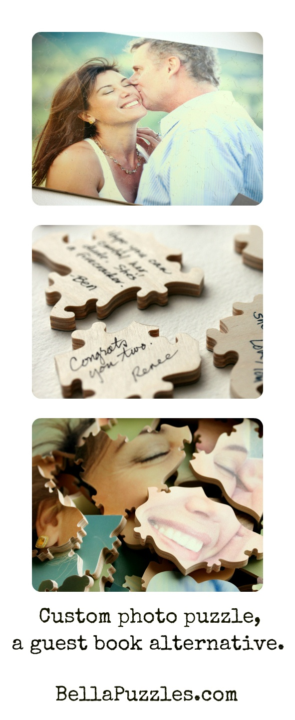 More wedding guests will sign your guestbook if it's fun and unusual. One of your favorite engagement photos turned into a Bella Puzzle guest book is a crowd-pleaser.