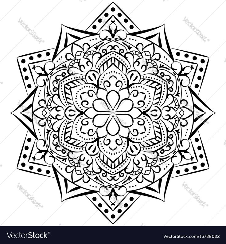 Outline Mandala For Coloring BookDecorative Elements Oriental Pattern Vector Illustration Anti Stress Therapy