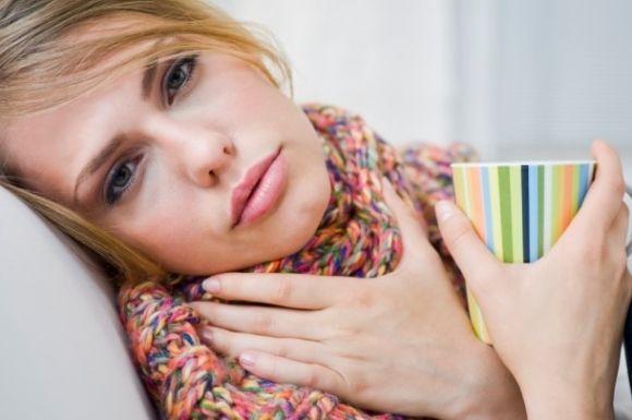Bolesť, hrdlo, chrípka, nachladnutie