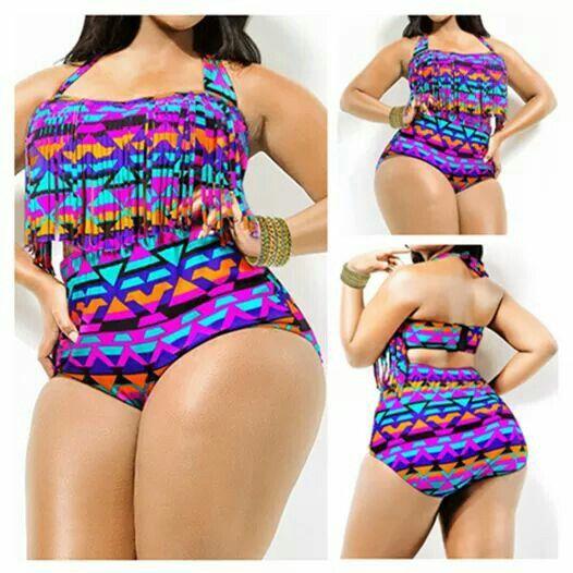 Curvy girl one piece swimsuit