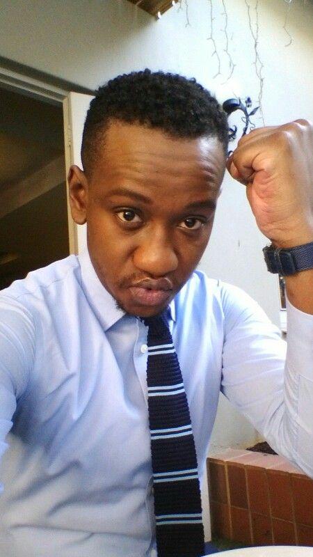 Knit tie, blue shirt
