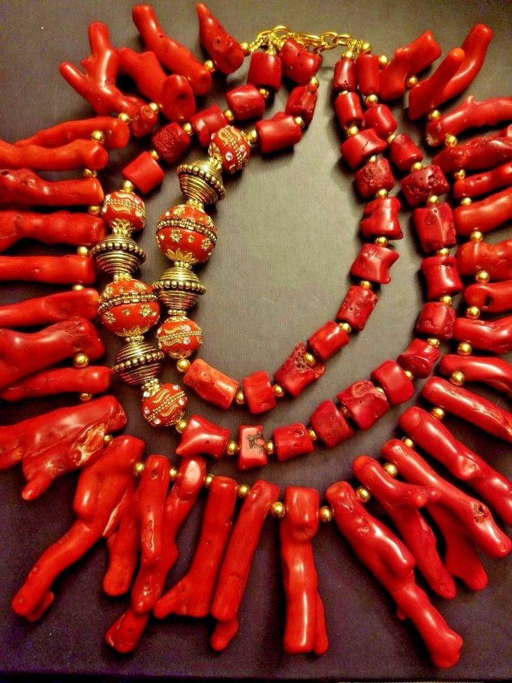 Red Branch Coral Bib Necklace Coral Statement Necklace Bold Chunky Coral…