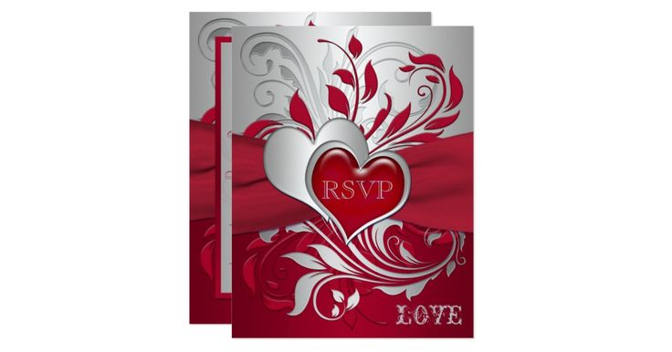 This romantic red and silver gray scrolled wedding reply card has a red PRINTED ribbon and a silver and puffy looking red joined hearts on it that matches the wedding invitations shown below. It would be perfect for a red and silver themed wedding, or for a Valentine's Day wedding. It would also be very nice for a 25th wedding anniversary party too. ***PLEASE NOTE there are no raised elements on this invitation. Everything is printed flat. The text and paper is all customizable. I suggest...