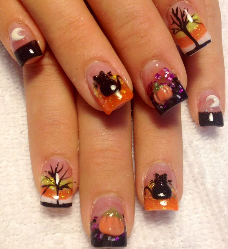 116 best halloween nail art images on pinterest nail designs halloween themed black orange white and purple acrylic nails prinsesfo Images
