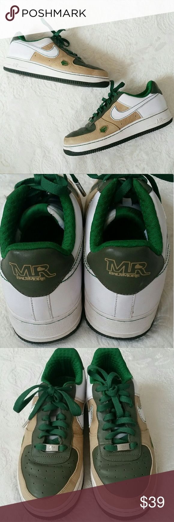 Nike Air Force One Leather Mr.Baltimore Addition These green and beige low premium , Baltimore city series, Mr. Shoe addition, premium leather nikes AF-1 were worn once, in great condition with only few minor flaws are very hard to find! Great addition to any nike lovers collection. US size 7Y nike size chart in photos shows 7Y = Men's 7 or woman's 8.5. Nike Shoes Sneakers