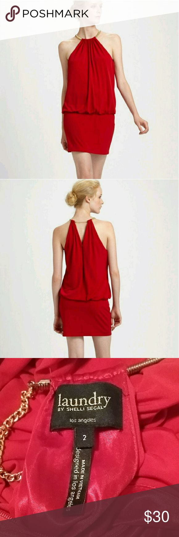 Laundry by shelli segal red mini dress Slinky size 2 lipstick red mini dress with a gold ring collar. In excellent condition. Laundry by Shelli Segal Dresses Mini