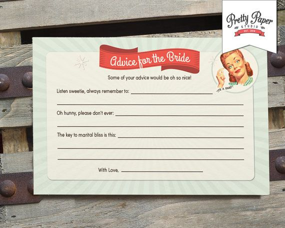 Advice for the Bride - 50s Housewife Bridal Shower Game Cards // INSTANT DOWNLOAD // 1950s Retro Bridal Shower Game // Printable Digital