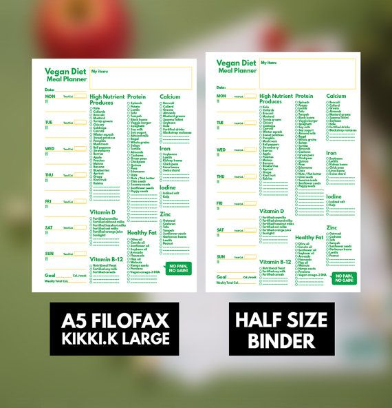 A5 Filofax Meal Planner Printable Vegan Diet U0026 By GetWellPlan Part 31