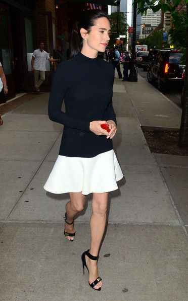 Jennifer Connelly in a perfect buttermilk flirt skirt, skinny midnight blue top and strap shoe: Jennifer Connelly Black, Fashion Style, Outfit, Black Shoes, Beautiful Dresses, Black White, Drop Waist Dresses, Wear