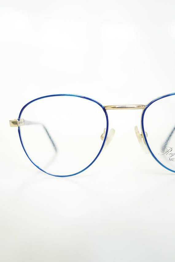7276c032923c Vintage Round Blue P3 Glasses Wire Rim Womens 1980s Optical Sapphire Bright  Gold Shiny Geek Chic Nerdy 80s Eighties Hipster Frames