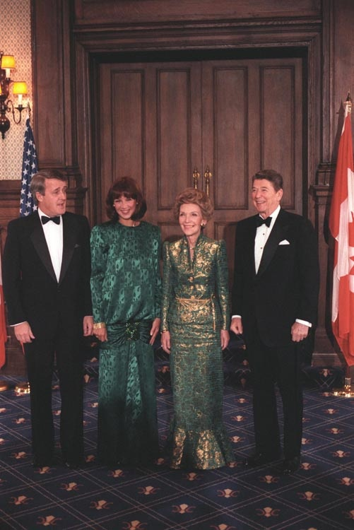 The Reagans with Prime Minister Brian Mulroney and his wife Mila in Quebec, Canada. 3/18/85.