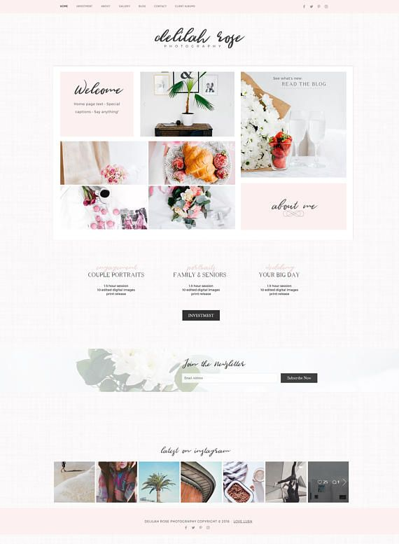 delilah rose wix template website theme photography portfolio