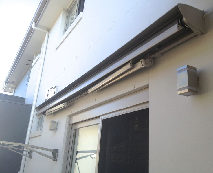 Luxaflex Ventura folding arm awning. Powdercoated in Dulux Dune to match the home exterior. Slim and compact when closed. Picture taken at customers home in Earlwood Sydney Australia. #parkshuttersandblinds